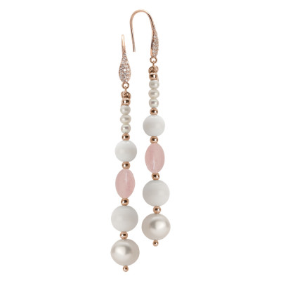 Drop earrings with natural pearls, rose quartz and white agate