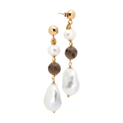 Drop earrings with natural pearls and smoky quartz