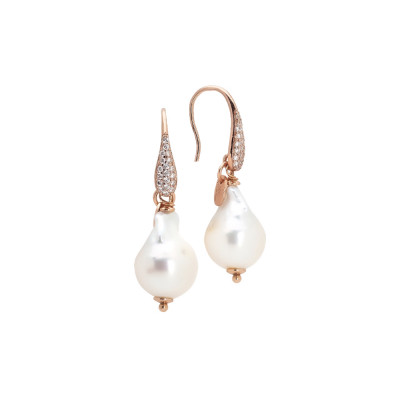 Rose gold plated earrings with cubic zirconia and baroque pearl