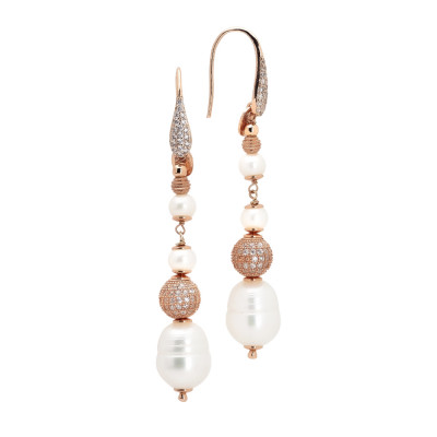 Rose gold plated pendant earrings with natural pearls and diamond beads