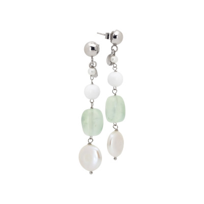 Drop earrings with natural pearls, white agate and garnet