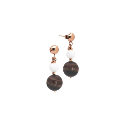 Earrings with white agate and mix brown agate