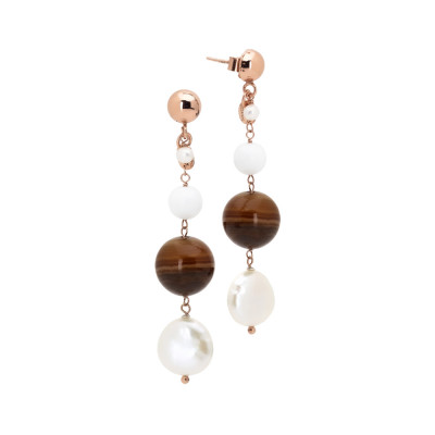 Drop earrings with natural pearls, white agate and mix brown agate