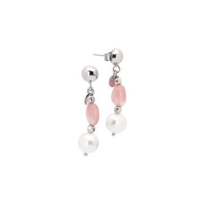 Earrings with natural pearl and rose quartz