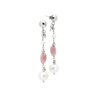 Drop earrings with natural pearls and rose quartz