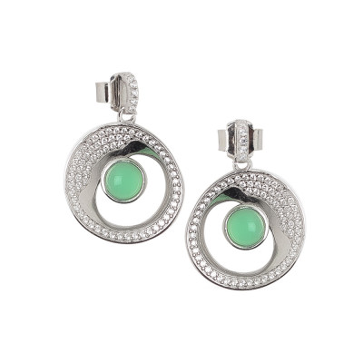 Earrings with moon eclipse and green crystal pendant