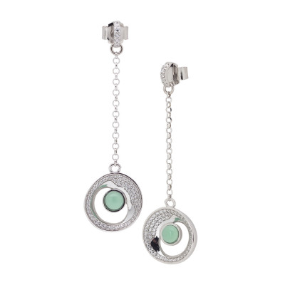 Drop earrings with eclipses of moon and green crystal