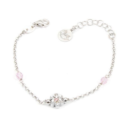 Bracelet in silver with Swarovski crystals pink and central flower