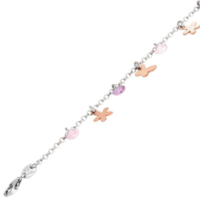 Bracelet in silver with charms and zircons rose and lavender