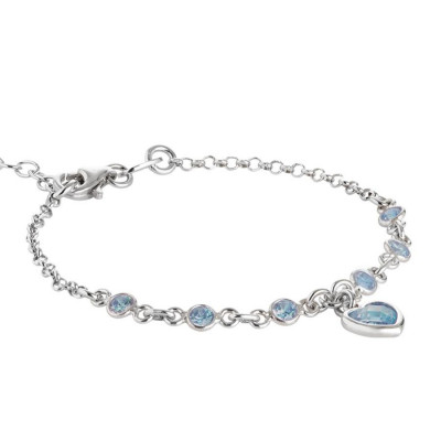 Bracciale in argento con zirconi acquamarina