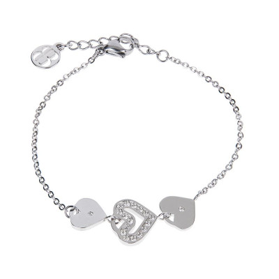 Bracelet bead with central decoration of hearts and zircons