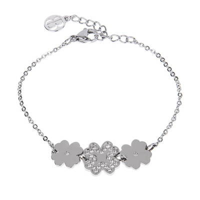 Bracelet bead with central decoration of four-leafed clover and zircons