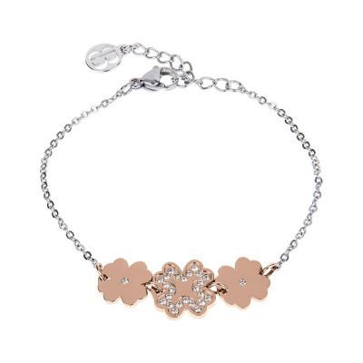 Bracelet bead bicolor with central decoration of quadrufogli and zircons