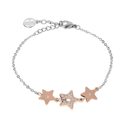 Bracelet bead bicolor with central decoration of stars and zircons