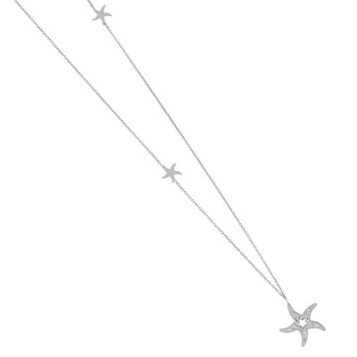 Necklace in steel with a pendant in the star of rhinestones