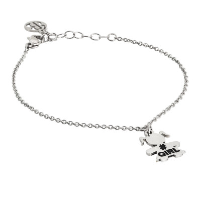Rhodium plated bracelet with baby charm