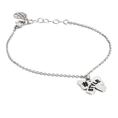 Rhodium plated bracelet with bow charm