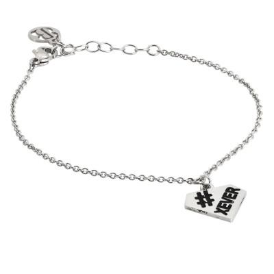 Rhodium plated bracelet with diamond charm