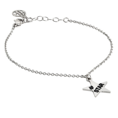 Rhodium plated bracelet with star charm