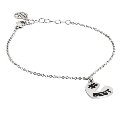 Bracelet with open heart charm at the top