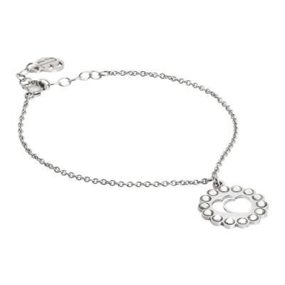 Bracelet with double heart charm and Swarovski