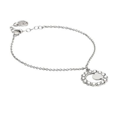 Bracelet with crescent and Swarovski charm