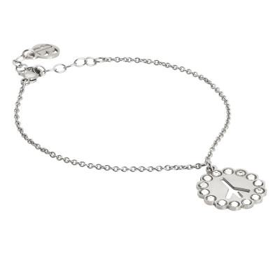 Bracelet with a symbol of peace and Swarovski charm