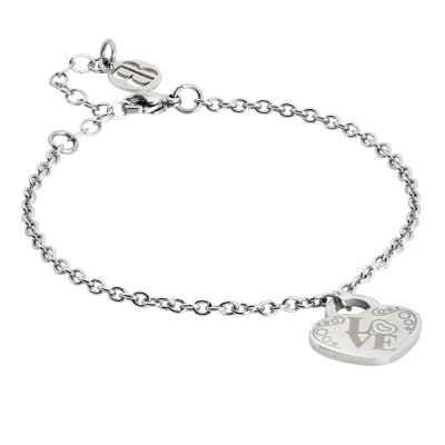 Bracelet with pendant heart and written Love