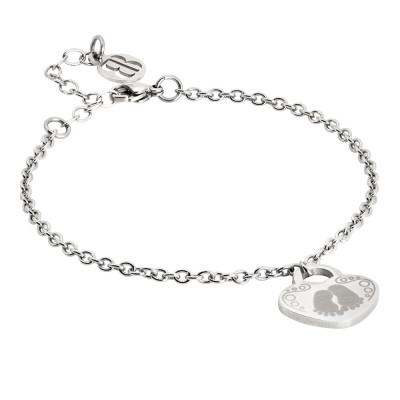 Bracelet with pendant heart and feet