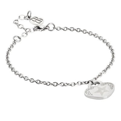 Bracelet with pendant heart and star