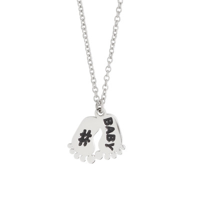 Necklace with charm feet