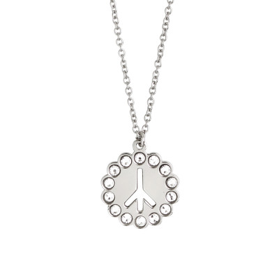 Necklace with peace symbol and Swarovski