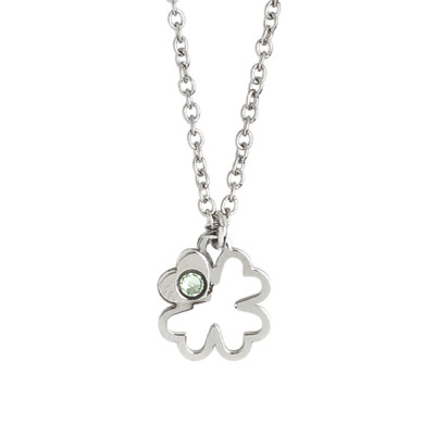 Necklace with four-leaf clover and Swarovski