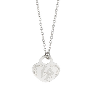 Necklace with heart and written Love