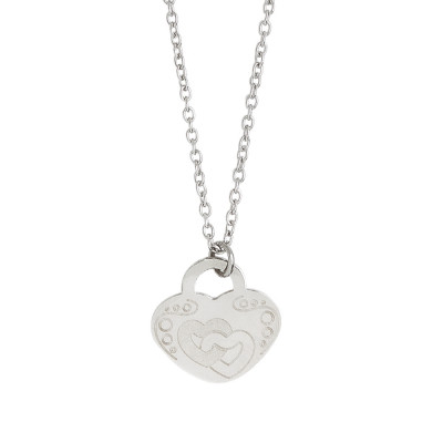 Necklace with heart and double heart