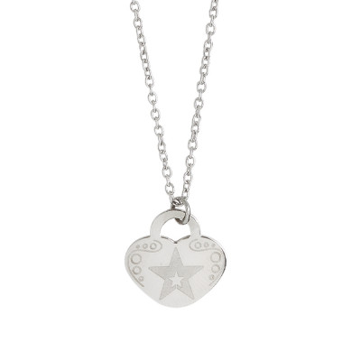 Necklace with heart and star