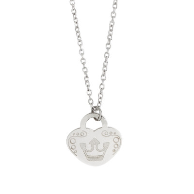 Necklace with heart and crown