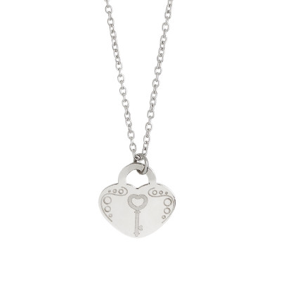 Necklace with heart and key