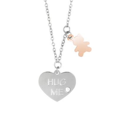 Necklace with two-tone pendants hug me and Swarovski