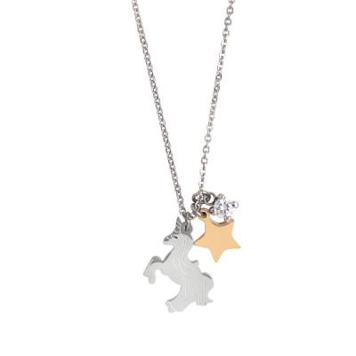 Collana con unicorno, stella e zircone pendenti