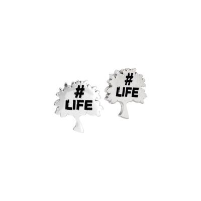 Lobe Earrings with Tree of Life
