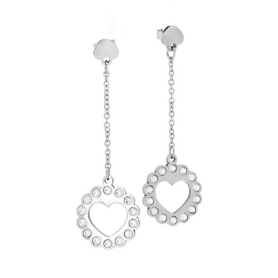 Earrings with heart and Swarovski