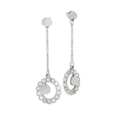 Earrings with half moon and Swarovski