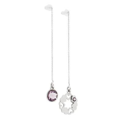 Asymmetric earrings with Swarovski light ametist