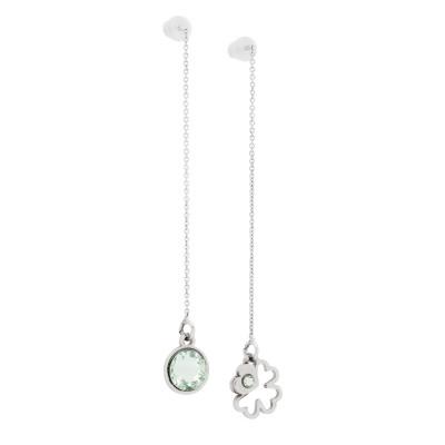 Asymmetric earrings with Swarovski chrysolite