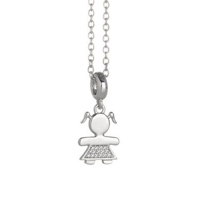 Rhodium plated necklace with bimba stylised and zircons