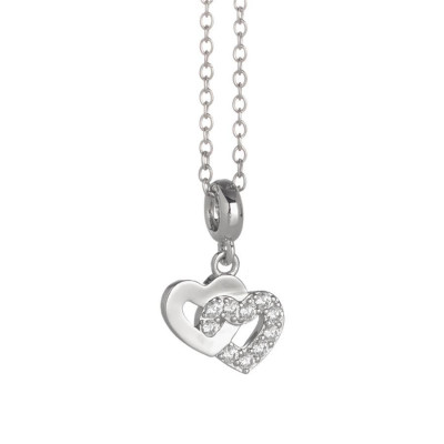 Rhodium plated necklace with hearts crossed and zircons