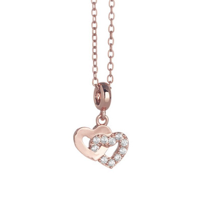 Necklace pink with hearts crossed and zircons