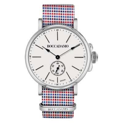Clock with strap microquadri sartorial blue and red