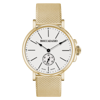 Yellow gold-plated men's watch with second counter
